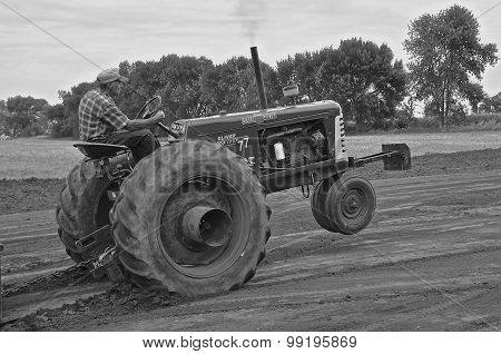(B&W) Oliver in tractor pulling contest at a thresher reunion