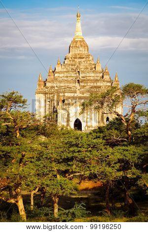 Scenic Sunset View Of Beautiful Ancient Temple In Bagan, Myanmar