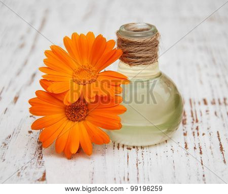 Calendula Oil In A Glass Bottle