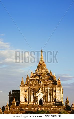 Landscape Vertical View Of Ancient Temple Thatbyinyu In Bagan At Sunset