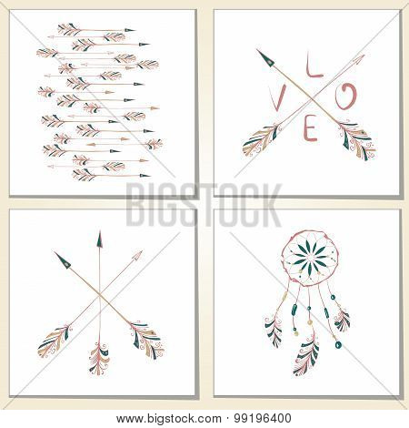 Native Indian-American arrows and dream catcher