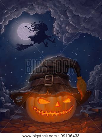 Halloween Pumpkin In A Witch's Hat And With Witch On A Broom Against The Moon.