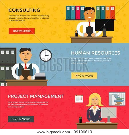 Web banners for business work, start up and project management