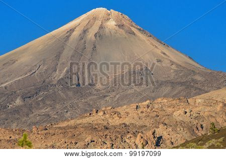 Detail of Teide peak in Tenerife Canary island Spain.