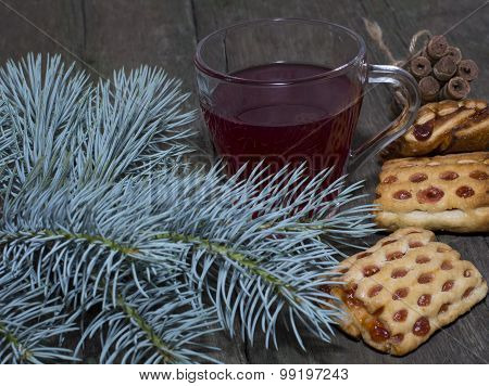 Still Life From A Fir-tree Branch, Cookies And Tea