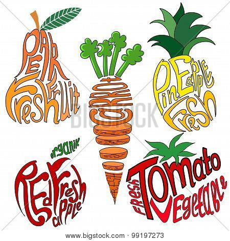 Lettering written with fruits and vegetables. Vector