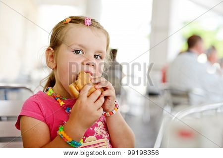 Little Girl With A Hamburger