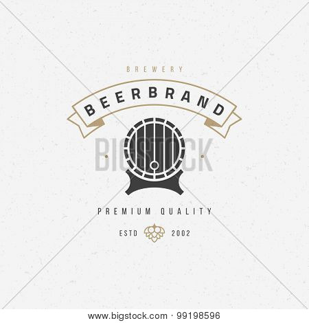 Beer barrel logo or badge design element vector illustration