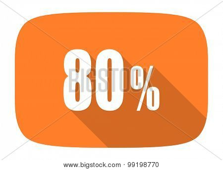 80 percent flat design modern icon with long shadow for web and mobile app