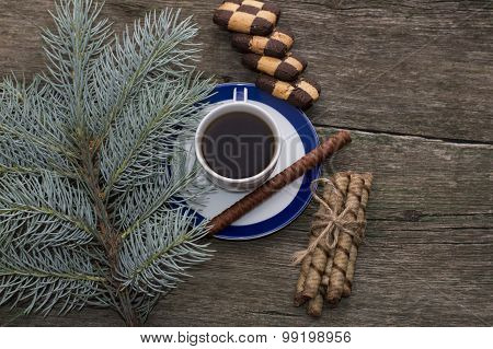 Still Life From A Fir-tree Branch, Cookies And Black Coffee