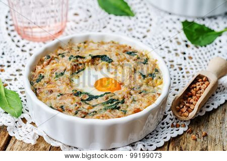 Buckwheat Spinach Cheese Egg Casserole