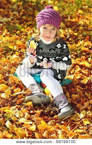 Sweet Little Girl  In Fall Time