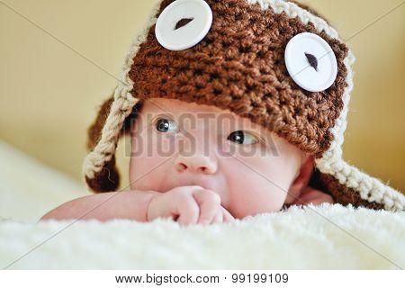Cute Newborn Wearing Funny Hat