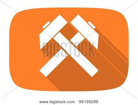 mining flat design modern icon with long shadow for web and mobile app