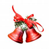 stock photo of christmas bells  - christmas bells with tape isolated on white background - JPG
