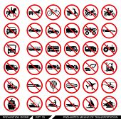 Постер, плакат: Set of prohibition signs for different means of transportation Collection of signs that ban usage o