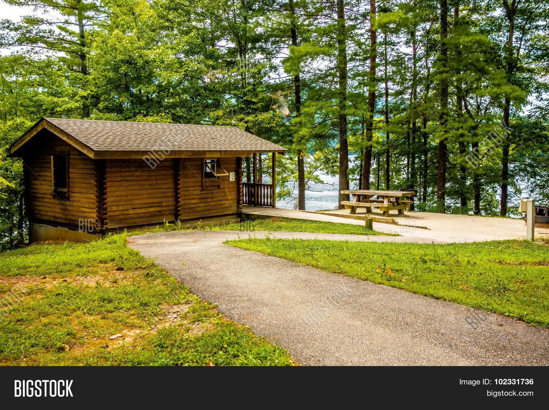 Log cabin surrounded by the forest at lake santeetlah for Cabin lake north carolina