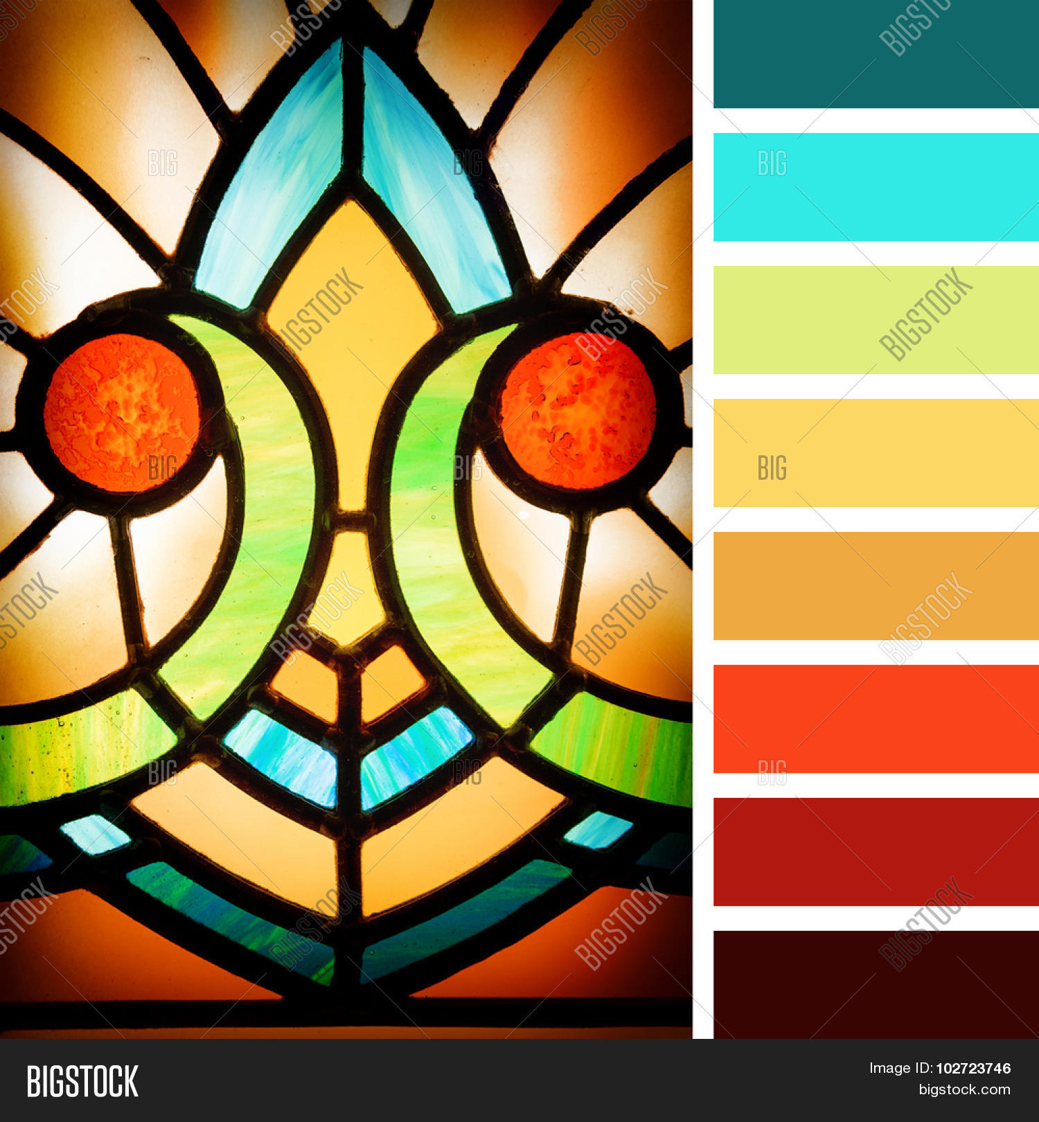 Color palette art nouveau - Art Deco Styles Stained Glass Detail In A Colour Palette With Complimentary Colour Swatches