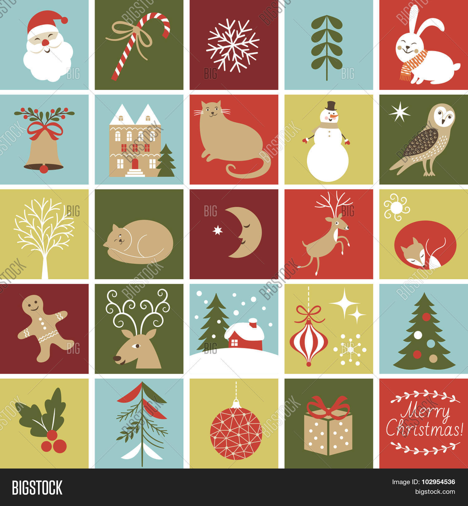 Christmas Calendar Illustration : Set icons create advent calendar vector photo bigstock