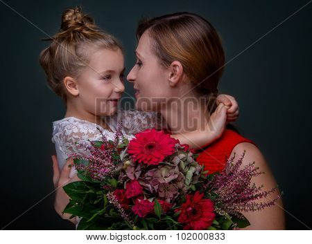 happy mother daughter embracing love
