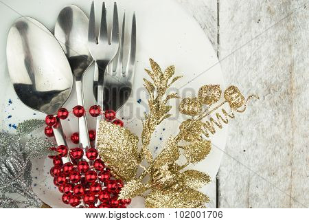 Christmas And New Year Holiday Table Setting. Holiday Decorations.