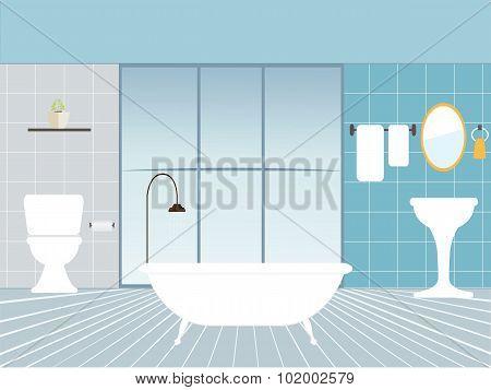 Flat Design Vector Illustration Of Modern Bathroom Interior.