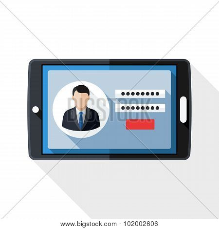 Tablet Icon With User Login Form And Long Shadow On White Background