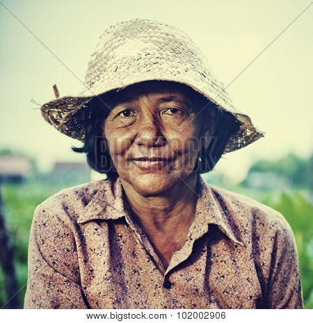 Cambodian Local Female Farmer Portrait Concept