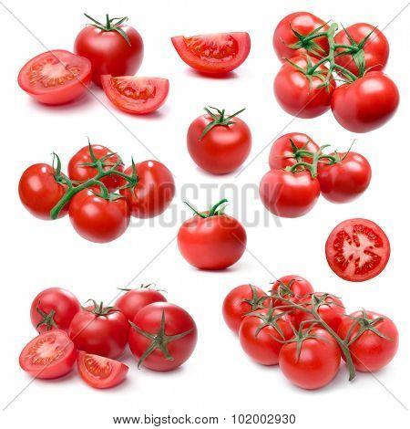 Tomato set isolated on white background. (Single, cluster, group, slice, part).