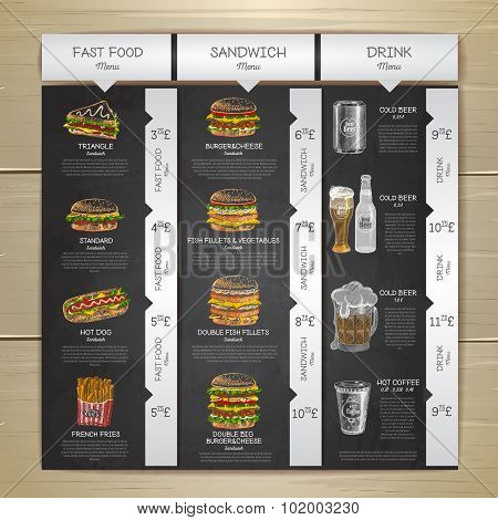 Vintage Chalk Drawing Fast Food Menu. Sandwich Sketch