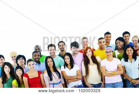 Studio Shot of Large Group of Young Adult Concept