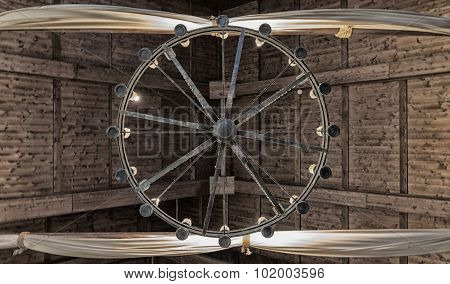 Round Iron Chandelier.