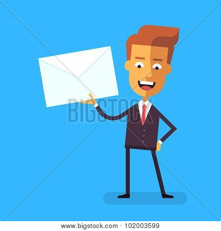Handsome businessman in formal suit talking holding an envelope with a letter. Cartoon character - c
