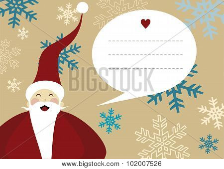 Santa Claus Merry Christmas Greeting Card Snow