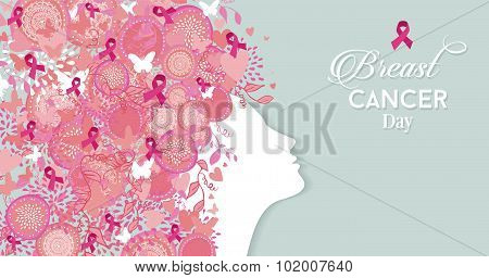 Breast Cancer Day Woman Silhouette Pink Ribbon