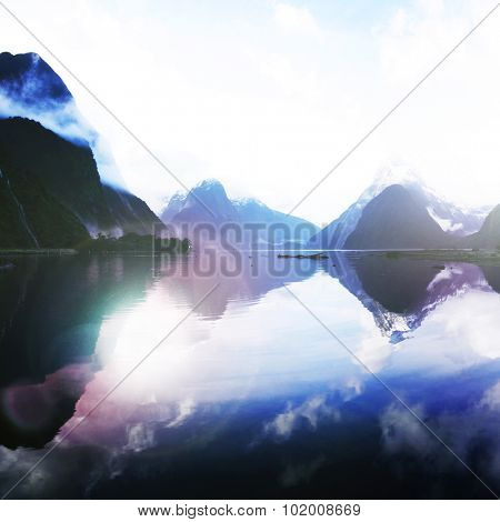 Blue Mountains Milford Sound Travel Destination Concept