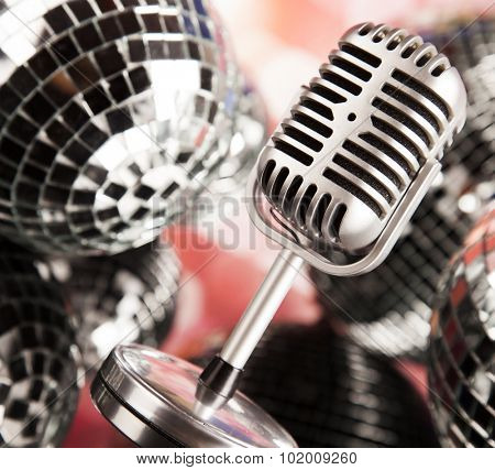 Retro microphone and Music background