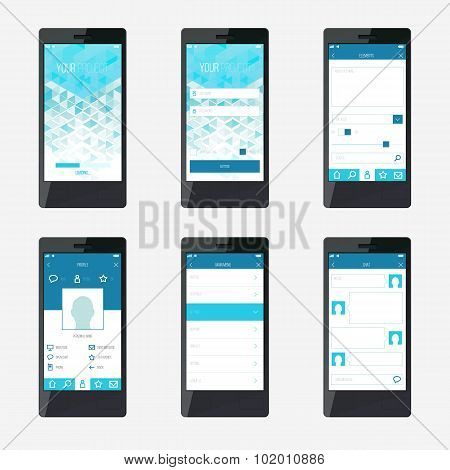 Template Mobile Application Interface Design.