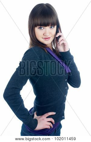Beautiful brunette girl talking on phone