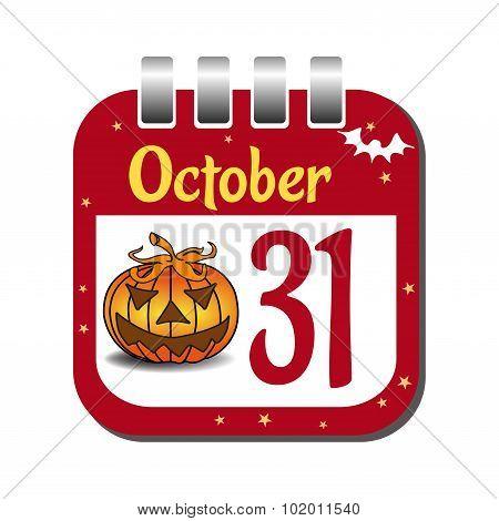 October thirty one calendar sheet