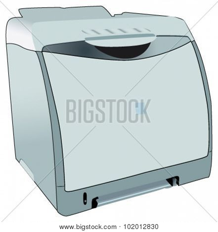 Desk laser printer, fully vectorized, photo-realistic view.