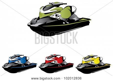 Seadoo. High quality photo realistic view and vectorized motor vehicle
