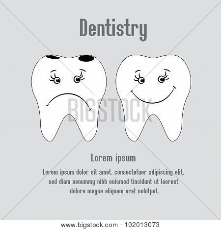 Sad Aching Tooth And Cheerful Healthy Tooth