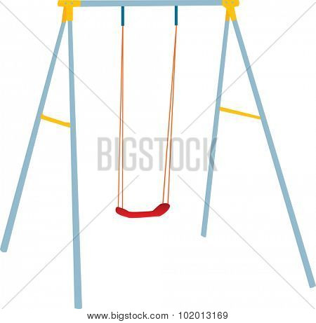 Children swing set, outdoor playground, fully vectorized