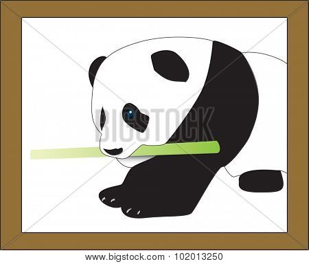 White panda eating a bamboo stick in a frame. Full vector