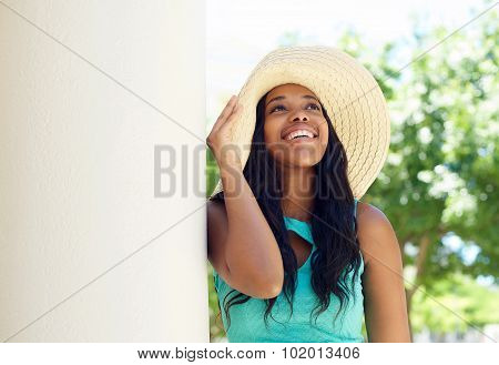 Cute African American Woman Smiling With Sun Hat