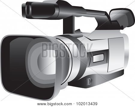 Illustrated video camera isolated against a white background.