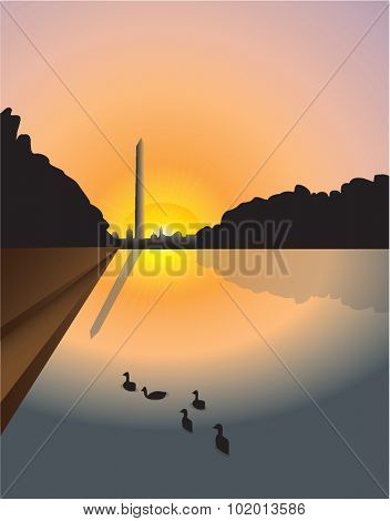 Vector illustration of sunset over Washington monument with Reflecting Pool in foreground, Washington, D.C, U.S.A.