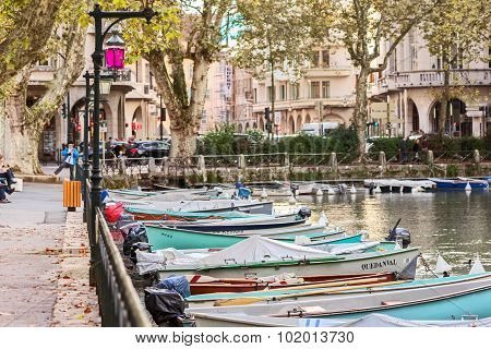 Boats On Water In Annecy, France