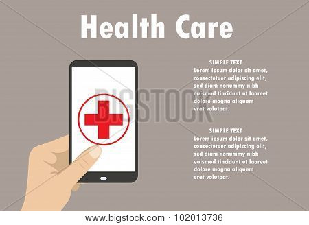 Health Application On A Smartphone. Flat Vector
